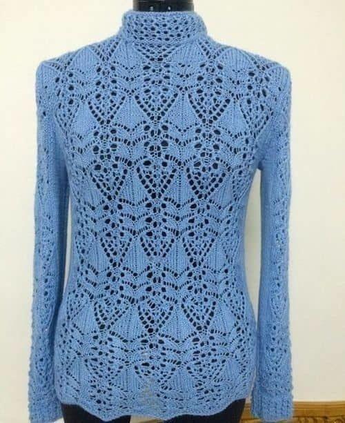 Японский ажур спицами Схема для пуловера