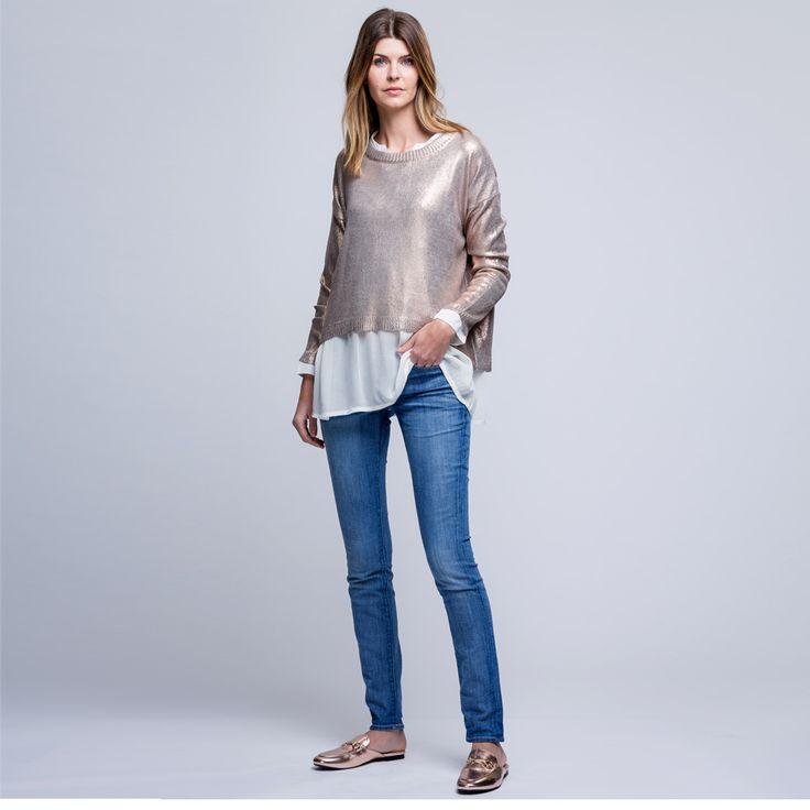Metallic Rose Gold Knit