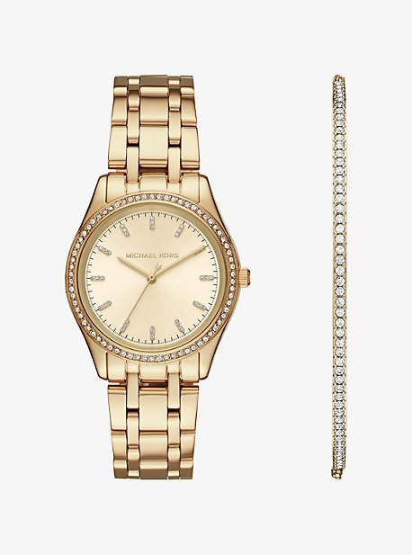 Michael Kors Kiley Gold-Tone Watch And Bracelet Set