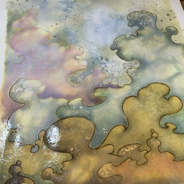 Work in progress on my inky clouds | Nellie Windmill