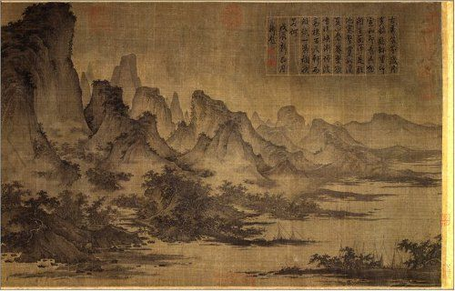 Ancient chinese landscape painting handscroll ink and for Chinese mural art