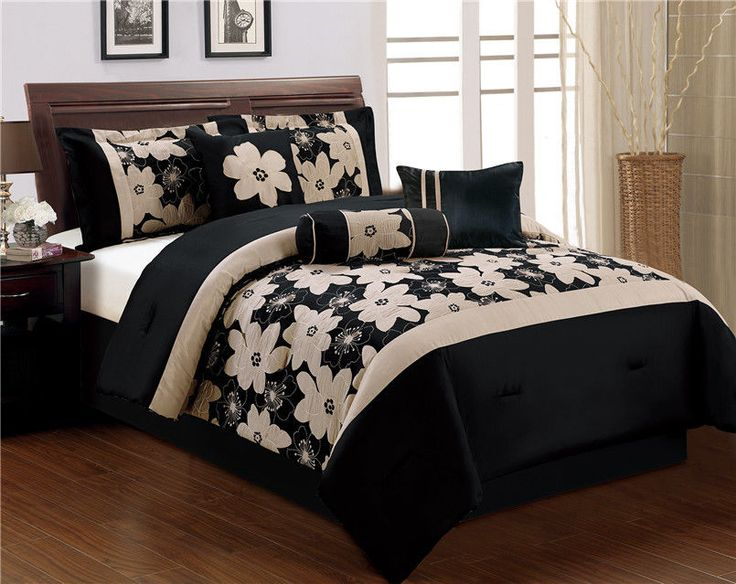 Charming 7 Piece Queen Black And Beige Jacquard Comforter Set Photo