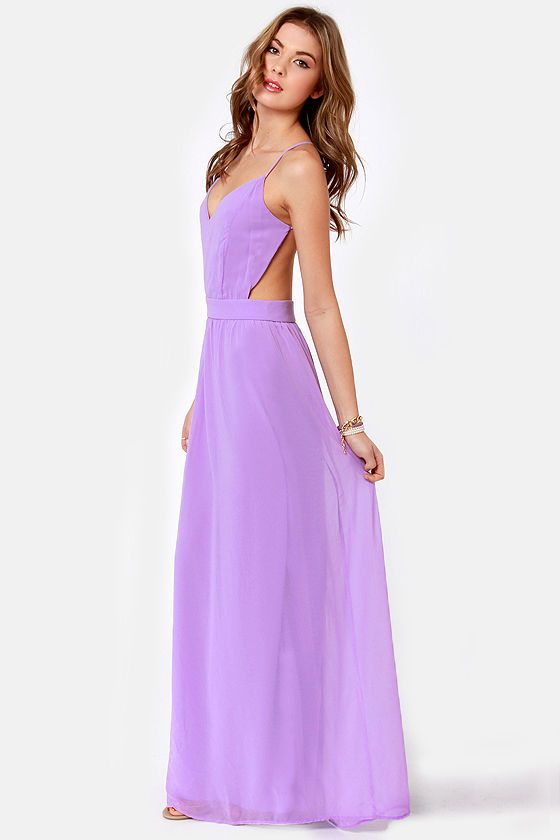 Sexy backless lavender maxi dress