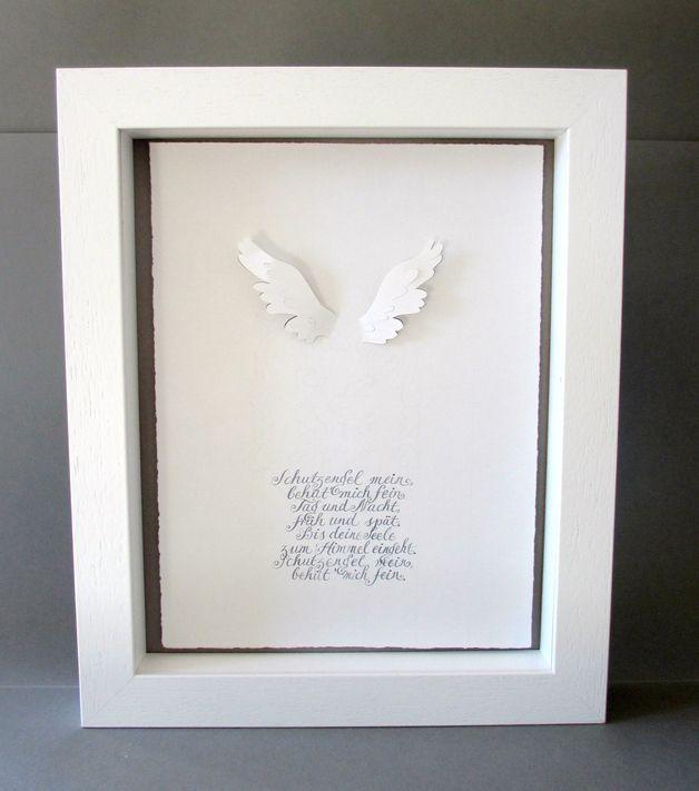 Kalligraphie *SCHUTZENGEL* für Taufe und Geburt