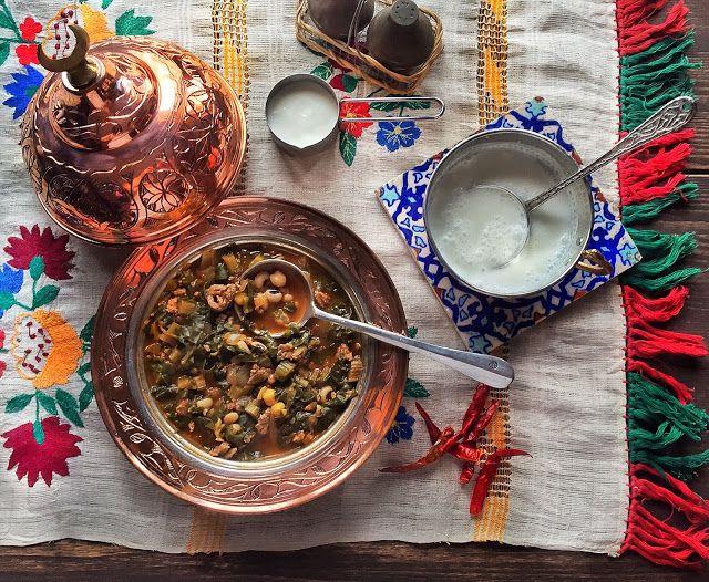 Borani Stew with Minced Meat, Chard, Chickpeas & Blackeyed Peas