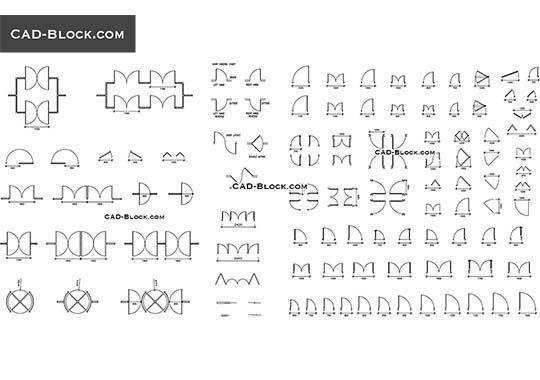 Doors plan - free AutoCAD Blocks | Architecture | Cad blocks