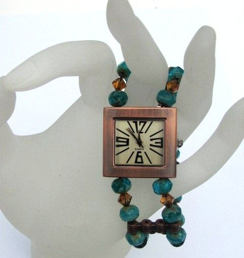 Blingz the Thing Store - A square copper watch face is matched with a stunning mix of fire polished turquoise crystals, Swarovski crystal copper crystals and copper spacers to make the perfect addition to your summer wardrobe