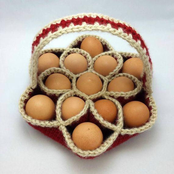Crochet Pattern for Baker's Dozen Egg Basket Egg by KnotJustAnyBag