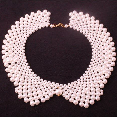 Min order 10usd 10usd !Handmade 100% 42A30 white black Pearl collar necklace choker pearl necklace jewelry wholesale !