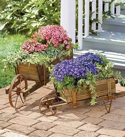 Adoro las carretillas llena de flores