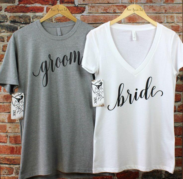 Bride and Groom Shirt Set. Bride Shirt. Groom Shirt. Mr and Mrs Shirts. Wedding Shirts. Couples Shirts. Wedding and Honeymoon Shirts by FreeSpiritInk on Etsy https://www.etsy.com/listing/457803738/bride-and-groom-shirt-set-bride-shirt