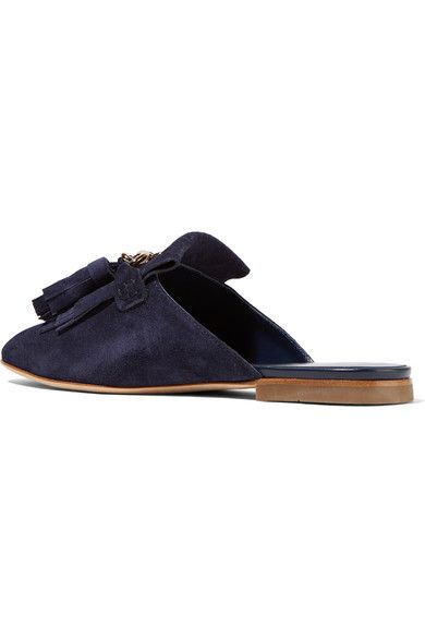 Tod's - Fringed Suede Slippers - Midnight blue - IT36.5