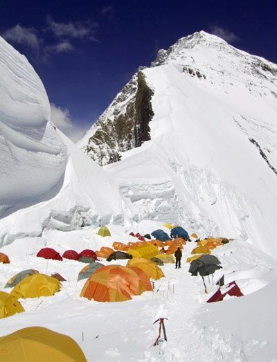 Tibetan side of Mount Everest where tents are pitched in deep snow.