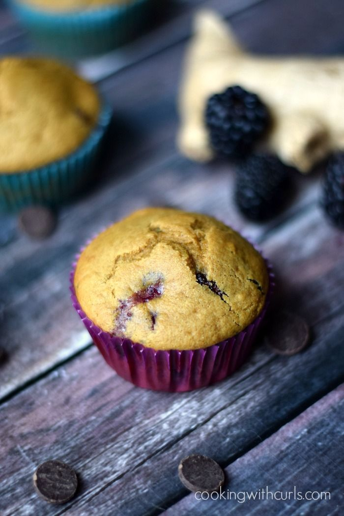Clean Blackberry Ginger Chocolate Chip Muffins