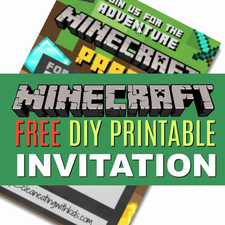 Minecraft birthday invitations free fresh free diy