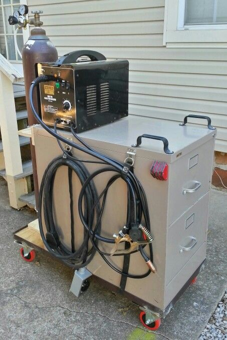 Welding cart made from a filing cabinet.                                                                                                                                                                                 More