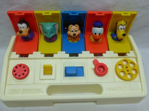 Vintage Retro 80's Child Guidance Poppin Pals Disney Character Pop Up Baby Toy