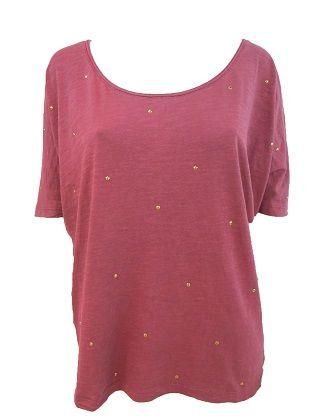 Camiseta Greenshet  Camiseta oversize de manga corta. Efecto lavado. Tachuelas doradas decorativas.