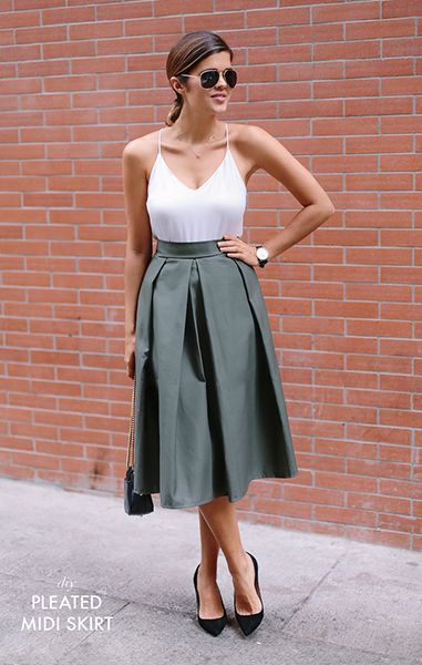 Download Pleated Midi Skirt Sewing Pattern (FREE)