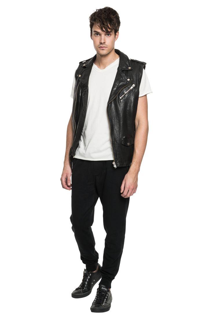 KEI Leather Biker Vest in Black