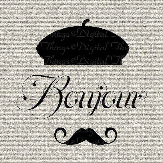 Bonjour Mustache French Script Printable Digital by DigitalThings, $1.00