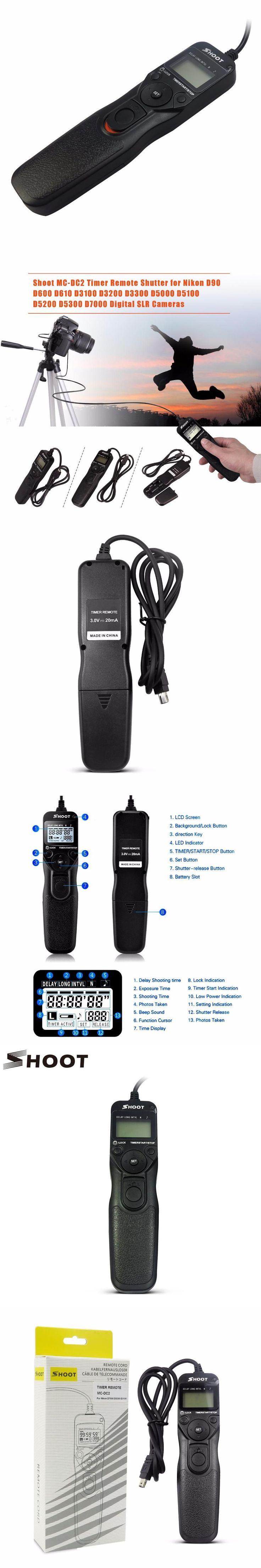 SHOOT MC-DC2 Timer Remote Shutter for Nikon D3100 D7000 D90 D600 D610 D3200 D3300 D5000 D5100 D5200 D5300 Digital SLR Cameras