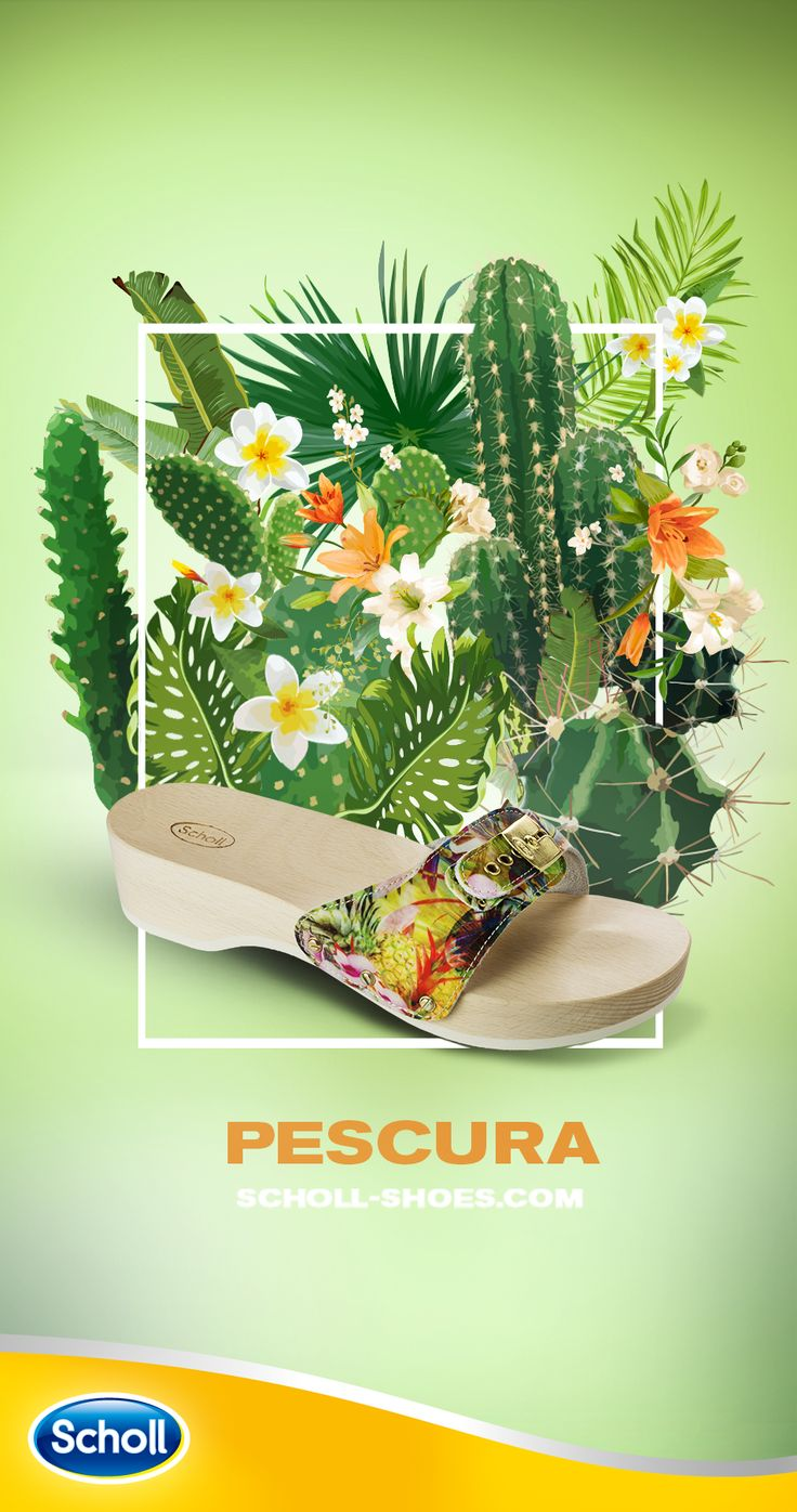 Two things can grow in an hot environment: the cactuses and an uncontrollable desire of wearing flower motif Pescura. Discover more about this iconic shoe on scholl-shoes.com