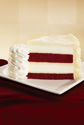 The Cheesecake Factory Ultimate Red Velvet Cake Cheesecake™ Moist layers of Red Velvet Cake and our Original Cheesecake covered with our special Cheesecake Factory cream cheese frosting.