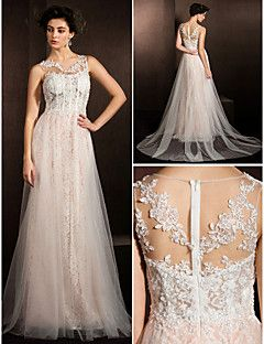 Lanting Bride® Trapèze Petites Tailles / Grandes Tailles Robe de Mariage  Traîne Tribunal Bijoux Dentelle / Tulle avec