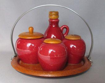 jie gantofta sweden cruet condiment set salt pepper shakers bottle Nylund design gogay pots teak red burgundy scandinavian modern 1960 eames