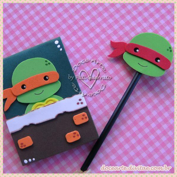 cuaderno decorado y lapiz. Las tortugas Ninja #gomaeva