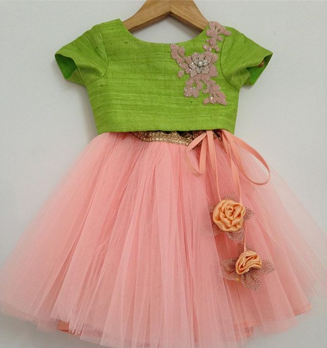 An Itsy bitsy crop with a netted gazed skirt mint green and peach#welovedressingup#kidswear#kidsclothes#kidsluxury