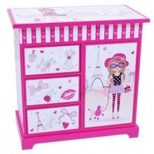 This beautiful musical jewellery box is very practical. It has ample storage space with a top opening tray compartment, 3 drawers for accessories and 1 cupboard with a revolving necklace holder.  This jewellery box cupboard has quality musical movements and a beautiful dancing fairy.  It is also equipped with an inbuilt mirror and cute lining.  Dimensions: (H) 24cm x (W) 24cm x (D) 14cm