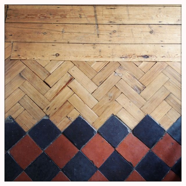 parquet + tiles(Mix Wood In Kitchen)