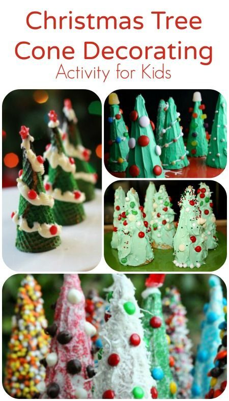 Kids can decorate regular ice cream cones to create cute (and yummy) edible Christmas trees