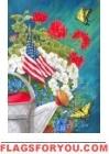 Patriotic Floral Garden Flag