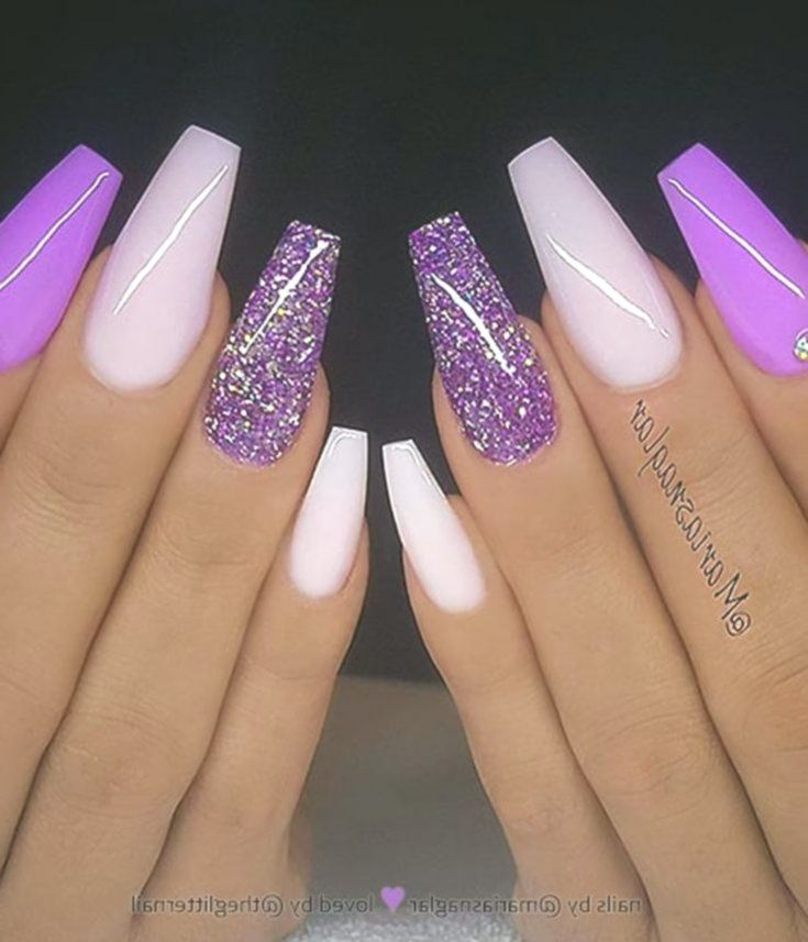 54 Stunning Acrylic Gel Coffin Nails Design For Summer Nails To Look Elegant Longnails Longnail Purple Acrylic Nails Purple Nails Coffin Nails Designs