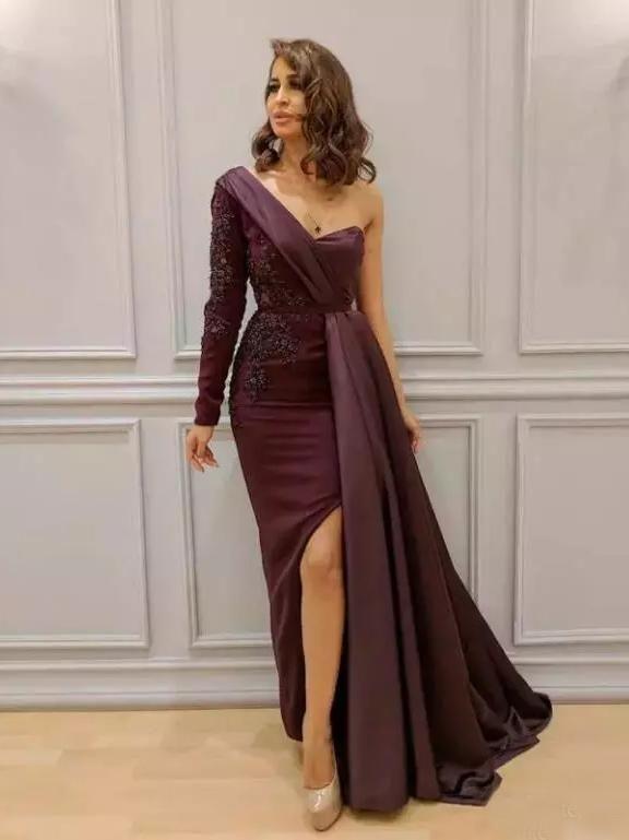 One Shoulder Purple Prom Dress Long Sleeve