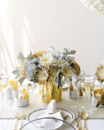 DIY metallic centerpiece base.  All you need is a paint can and some spray paint and you have the perfect New Years Eve table decor!  #MSL