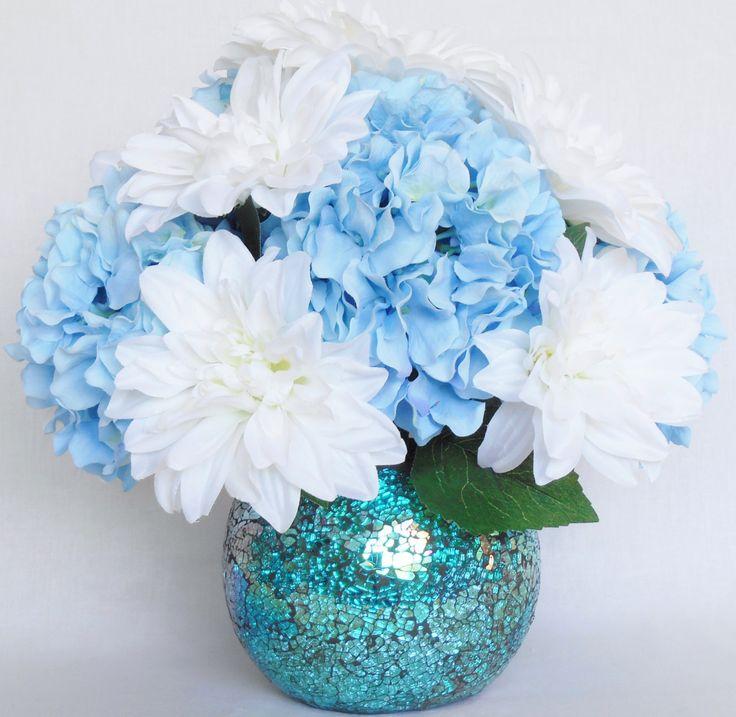 silk flower arrangement white dahlias blue hydrangea aqua mirrored mosaic vase artificial. Black Bedroom Furniture Sets. Home Design Ideas