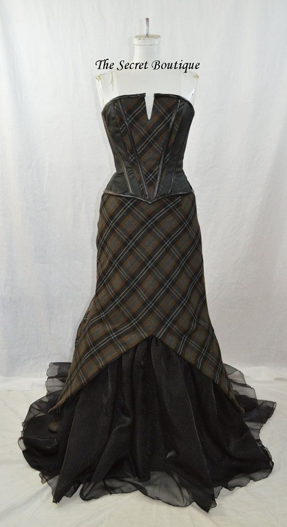 Plaid wedding dress alternative outlander wedding gown on Etsy, $1,499.99
