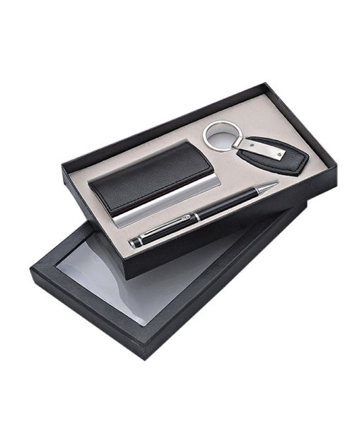 Three Piece Set - Leather Card Holder Pen and Keychain