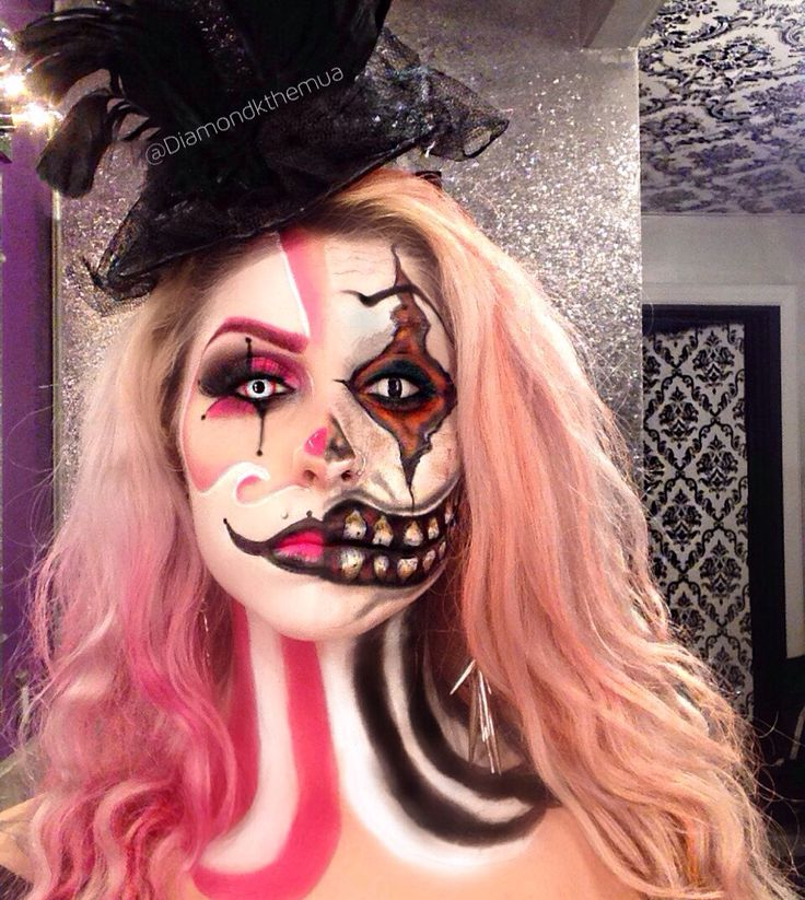 Double clown face!  Evil clown, girl clown  Clown makeup