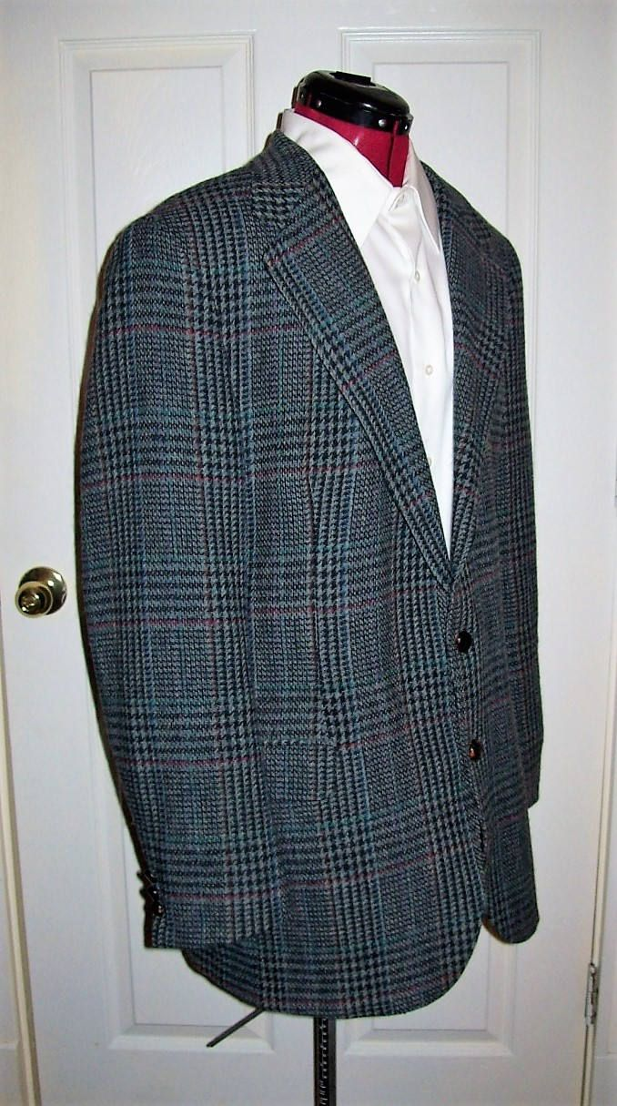 Vintage 80s Men's Gray Wool Tweed Sport Coat Blazer Size 44 Only 14 USD by SusOriginals on Etsy
