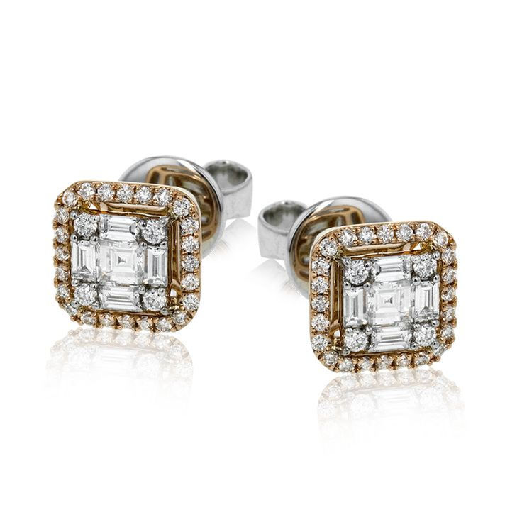 These two-tone 18k gold stud earrings feature a diamond mosaic in the center, su...