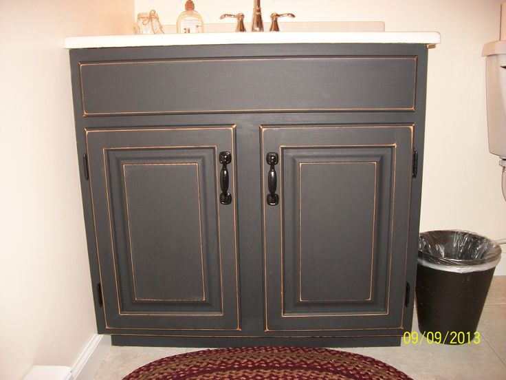 Finished bathroom vanity cabinet with black chalkboard paint then distressed gina 39 s diy - Painting bathroom cabinets black ...