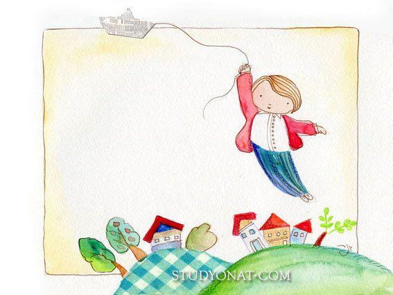 Print illustration flying Paper Boat Watercolor by YonatKatzir