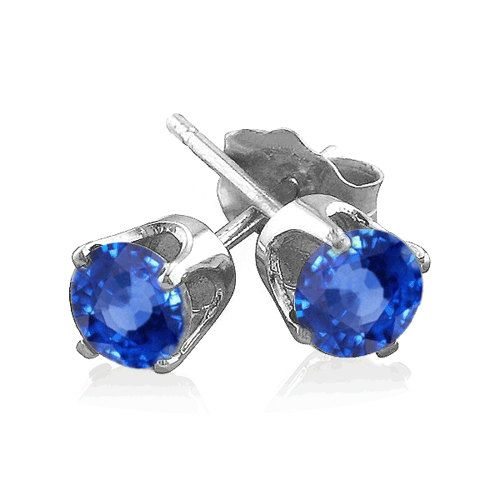 Blue Sapphire Stud Earrings in Sterling Silver by RoyalRebirth, $150.00