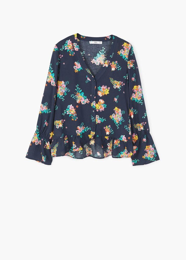 Струящаяся блузка с принтом | MANGO МАНГО