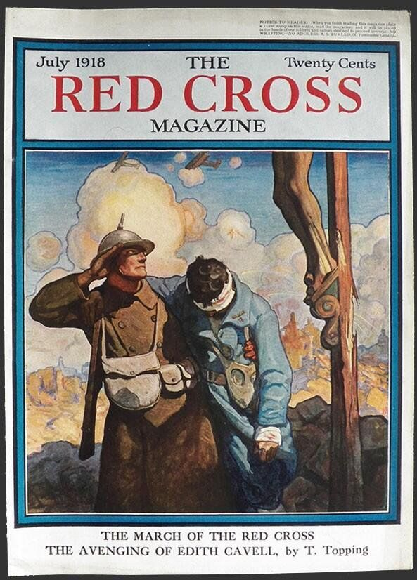 """RAChD Museum on Twitter: """"#WWI Red Cross magazine, July 1918; an American Soldier salutes the crucifix as he helps a wounded French soldier : http://t.co/zJSAGkZxkL"""""""